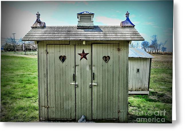 Outdoor Toilets Greeting Cards - Outhouse - His and Hers Greeting Card by Paul Ward