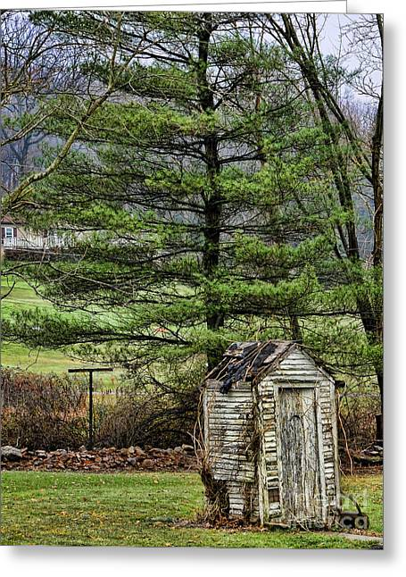 Outdoor Toilets Greeting Cards - Outhouse in the Backyard Greeting Card by Paul Ward
