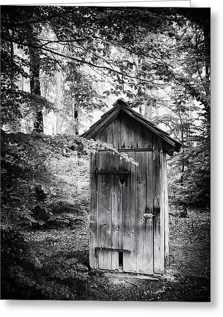 Outhouse Greeting Cards - Outhouse in the forest black and white Greeting Card by Matthias Hauser