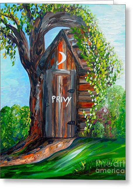 Bathroom Prints Greeting Cards - Outhouse - Privy - The Old Out House Greeting Card by Eloise Schneider