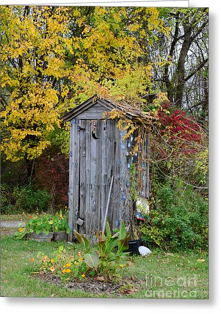 Outdoor Toilets Greeting Cards - Outhouse Surrounded by Autumn Leaves Greeting Card by Paul Ward