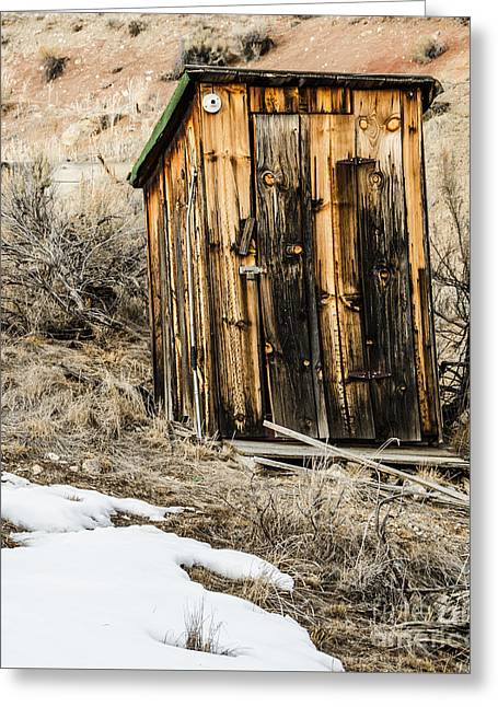 Sue Smith Greeting Cards - Outhouse with Electricity Greeting Card by Sue Smith
