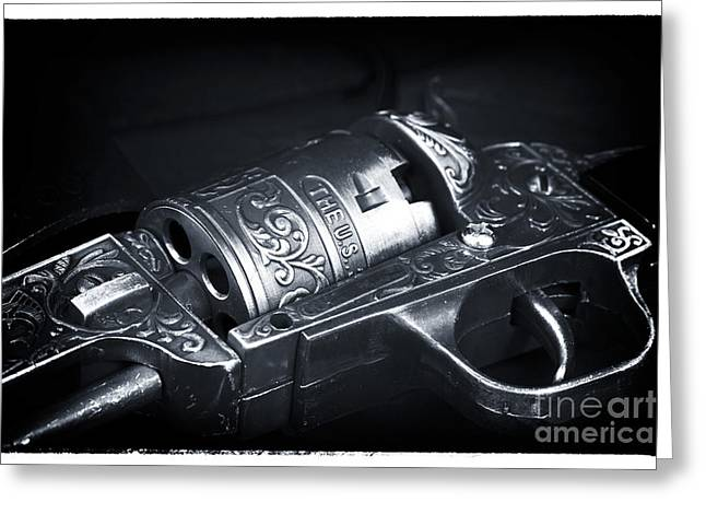 Contemporary Western Fine Art Greeting Cards - Outlaw Revolver Greeting Card by John Rizzuto