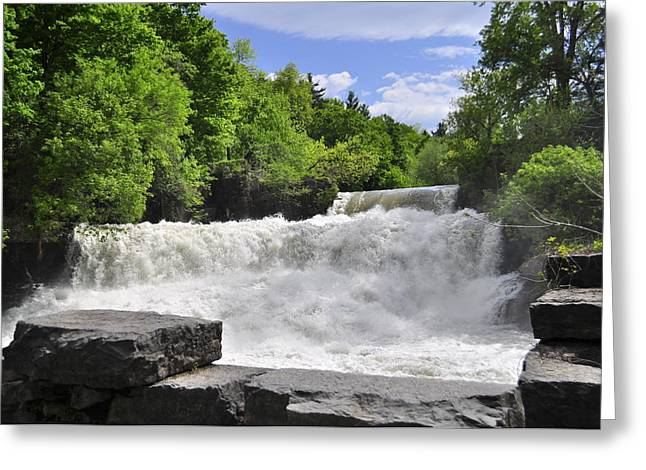 Keuka Greeting Cards - Outlet Upper Falls Greeting Card by Melanie Bellis