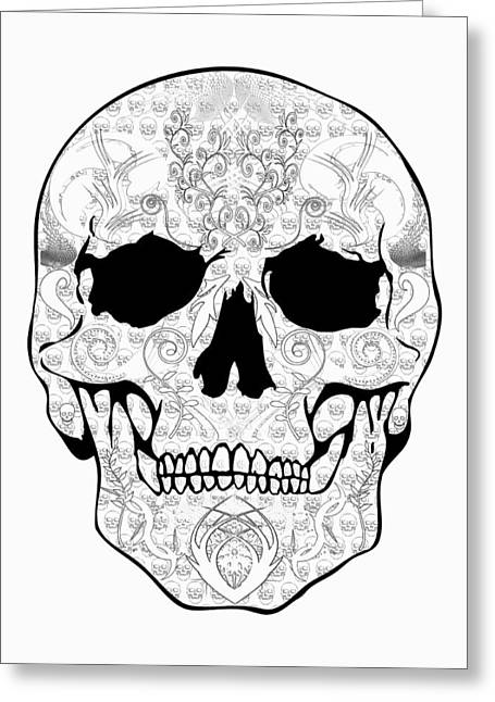 Scull Greeting Cards Greeting Cards - Outline Skull Greeting Card by Mauro Celotti