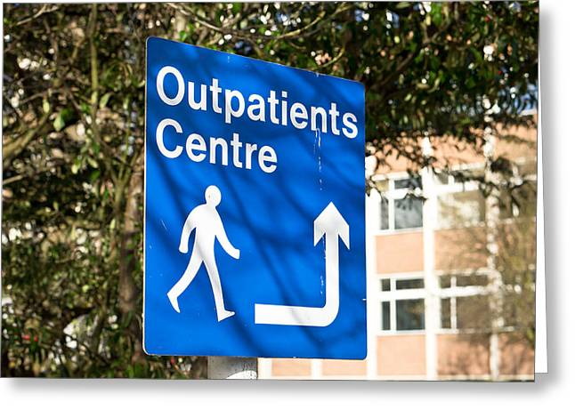 Treatment Greeting Cards - Outpatients centre Greeting Card by Tom Gowanlock