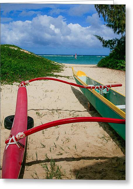 Canoe Photographs Greeting Cards - Outrigger Beach Greeting Card by Paul Moore