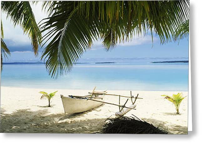 Urban Images Greeting Cards - Outrigger Boat On The Beach, Aitutaki Greeting Card by Panoramic Images