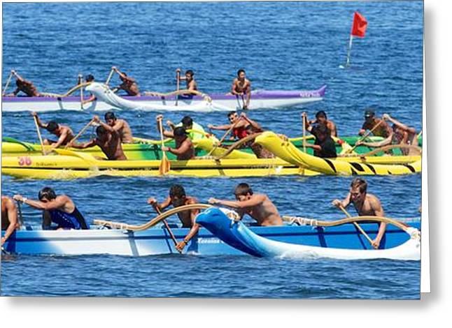 Canoe Greeting Cards - Outrigger canoe race Greeting Card by Andy Jackson