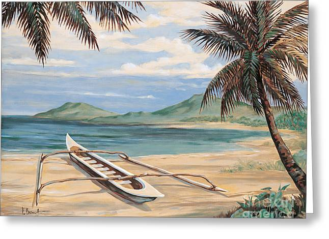 Canoe Paintings Greeting Cards - Outrigger Cove Greeting Card by Paul Brent