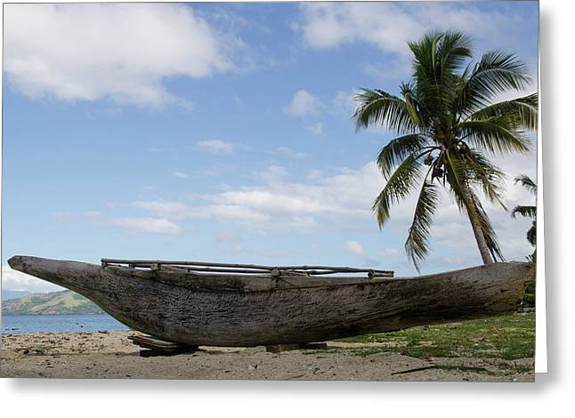 Outrigger Fishing Canoe, Kioa Island Greeting Card by Pete Oxford