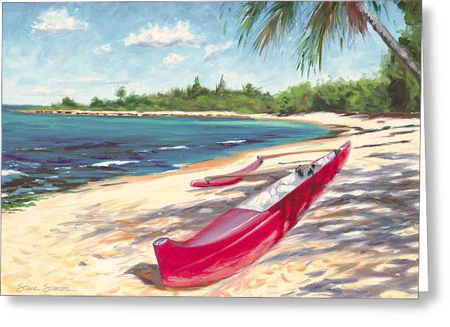 Outrigger - Haleiwa Greeting Card by Steve Simon