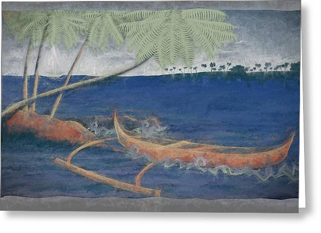 Outrigger In Storm Greeting Card by Andrea Ribeiro