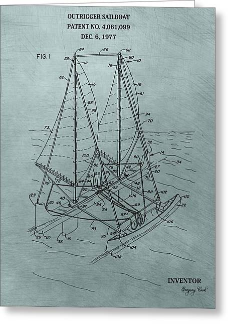 Buoyancy Greeting Cards - Outrigger Sailboat Patent Greeting Card by Dan Sproul