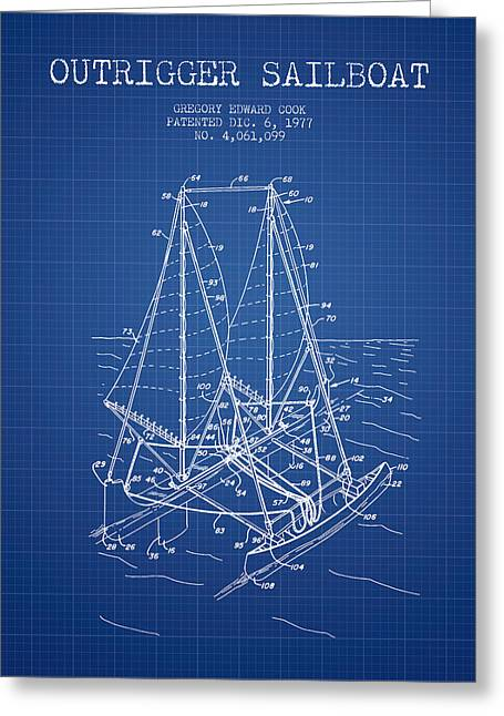 Sailboat Art Greeting Cards - Outrigger Sailboat patent from 1977 - Blueprint Greeting Card by Aged Pixel