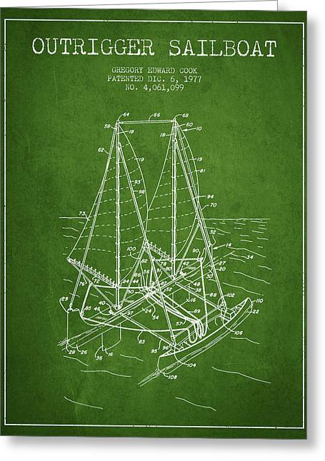 Sailboat Art Greeting Cards - Outrigger Sailboat patent from 1977 - Green Greeting Card by Aged Pixel
