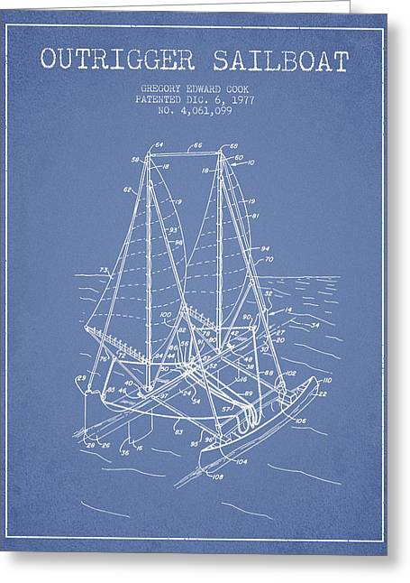 Sailboat Art Greeting Cards - Outrigger Sailboat patent from 1977 - Light Blue Greeting Card by Aged Pixel
