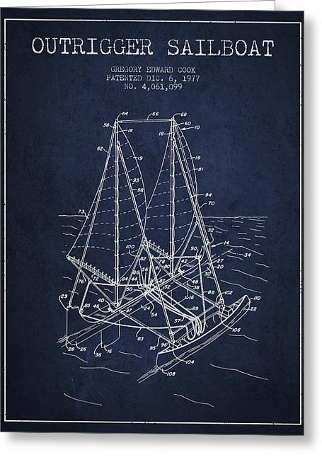 Sailboat Art Greeting Cards - Outrigger Sailboat patent from 1977 - Navy Blue Greeting Card by Aged Pixel