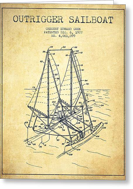 Sailboat Art Greeting Cards - Outrigger Sailboat patent from 1977 - Vintage Greeting Card by Aged Pixel