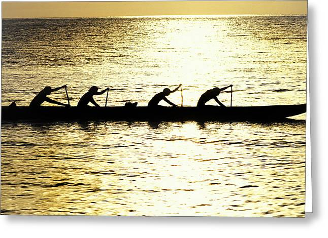 Canoe Greeting Cards - Outrigger silhouettes Greeting Card by Sean Davey