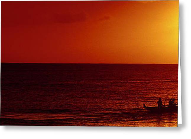 Canoe Greeting Cards - Outrigger Sunset Greeting Card by Sean Davey