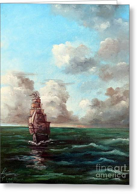 Wooden Ship Paintings Greeting Cards - Outrunning The Storm Greeting Card by Lee Piper