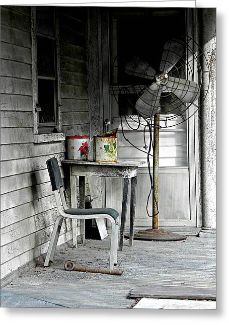 Side Porch Greeting Cards - Outside Air-conditioning Greeting Card by Mickey Murphy