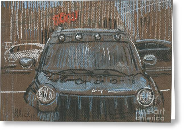 Auto Drawings Greeting Cards - Outside BigLots Greeting Card by Donald Maier