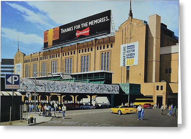 Baseball Mural Pictures Greeting Cards - Outside Boston Garden Greeting Card by Thomas  Kolendra