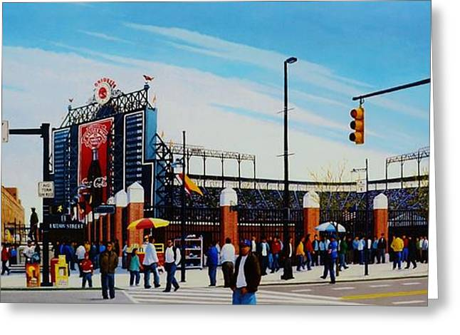 Baseball Mural Pictures Greeting Cards - Outside Camden Yards Greeting Card by Thomas  Kolendra
