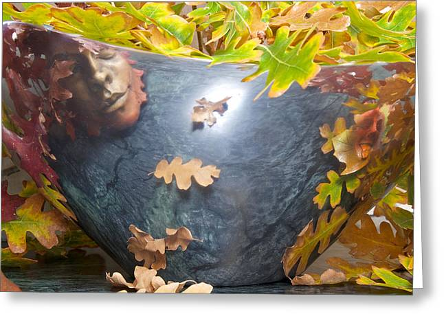 Stone Bowl Greeting Cards - Outside Faces Inside Greeting Card by Mary Lee Dereske