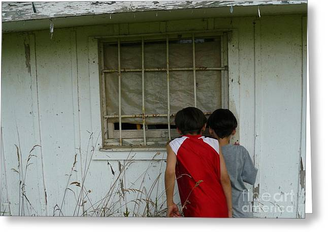 Grocery Store Greeting Cards - Outside Looking In Greeting Card by Jane Ford