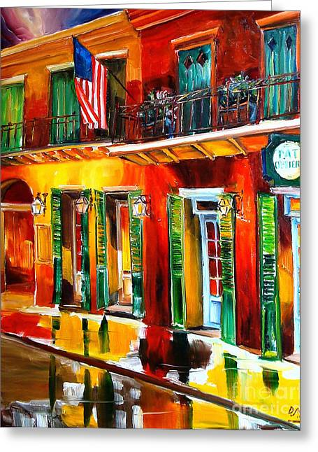 Vieux Carre Greeting Cards - Outside Pat OBriens Bar Greeting Card by Diane Millsap