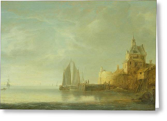 Harbour Wall Greeting Cards - Outside Rotterdam Oil On Panel Greeting Card by Simon Jacobsz. Vlieger