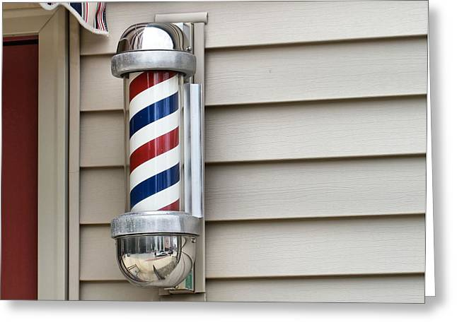 Helix Greeting Cards - Outside The Barbershop Greeting Card by Dan Sproul
