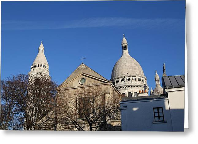 Jesus Photographs Greeting Cards - Outside the Basilica of the Sacred Heart of Paris - Sacre Coeur - Paris France - 01131 Greeting Card by DC Photographer