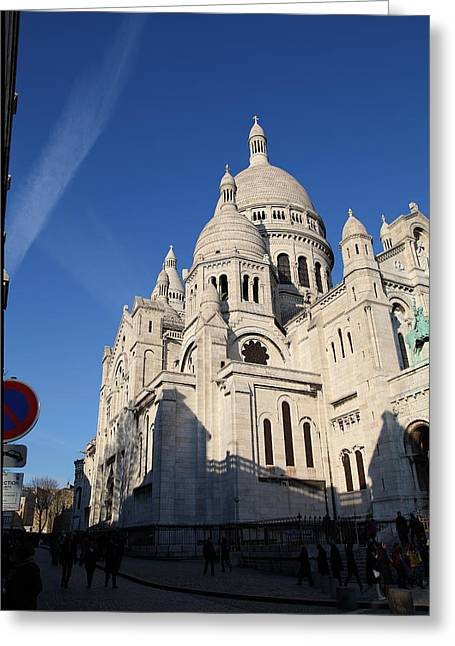 Rue Greeting Cards - Outside the Basilica of the Sacred Heart of Paris - Sacre Coeur - Paris France - 01133 Greeting Card by DC Photographer