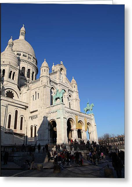 The Greeting Cards - Outside the Basilica of the Sacred Heart of Paris - Sacre Coeur - Paris France - 01135 Greeting Card by DC Photographer
