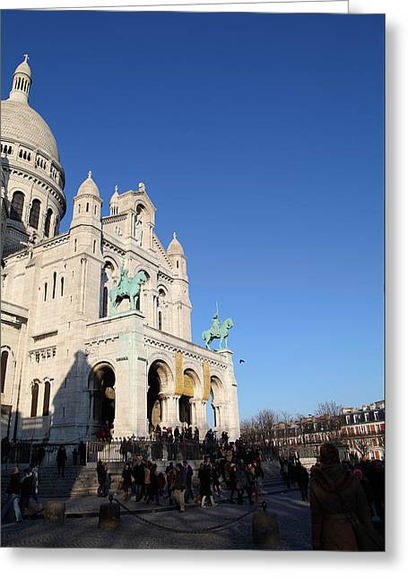 Domes Greeting Cards - Outside the Basilica of the Sacred Heart of Paris - Sacre Coeur - Paris France - 01136 Greeting Card by DC Photographer
