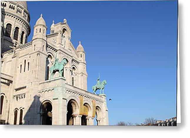 Outside the Basilica of the Sacred Heart of Paris - Sacre Coeur - Paris France - 01136 Greeting Card by DC Photographer