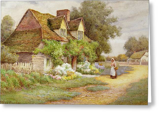 Apron Greeting Cards - Outside the Cottage  Greeting Card by Ethel Hughes