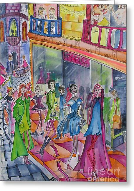 Catwalk Drawings Greeting Cards - Outside the Frock Shop Greeting Card by Cate Field