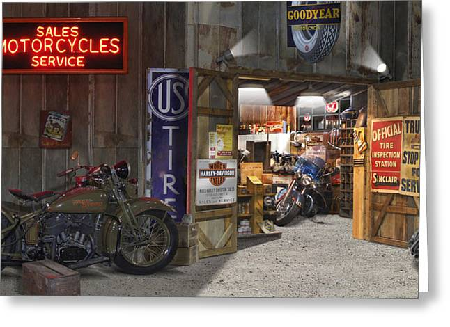 Wagon Digital Art Greeting Cards - Outside the Motorcycle Shop Greeting Card by Mike McGlothlen