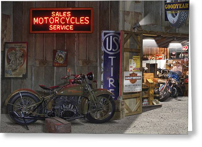 Outside The Motorcycle Shop Greeting Card by Mike McGlothlen