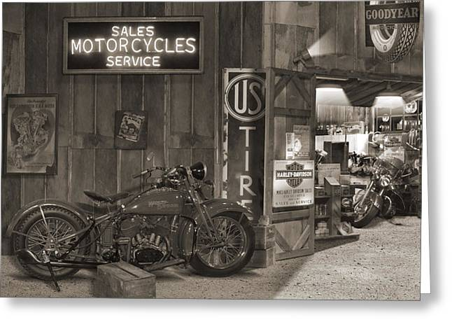 Cigarette Greeting Cards - Outside The Old Motorcycle Shop - Spia Greeting Card by Mike McGlothlen