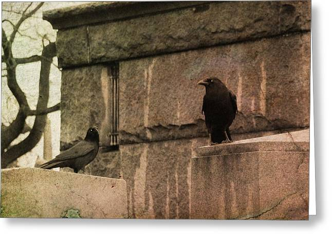 Two Crows Greeting Cards - Outside The Old Mausoleum   Greeting Card by Gothicolors Donna Snyder