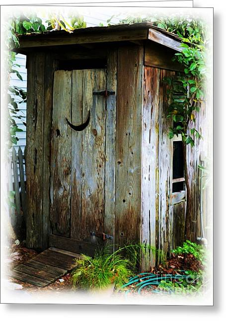 Door Hinges Greeting Cards - Outside The Outhouse Greeting Card by Mel Steinhauer