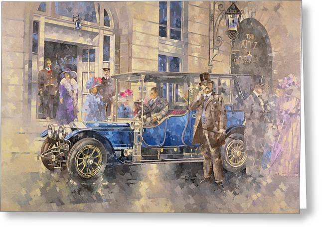Arrival Greeting Cards - Outside The Ritz Oil On Canvas Greeting Card by Peter Miller