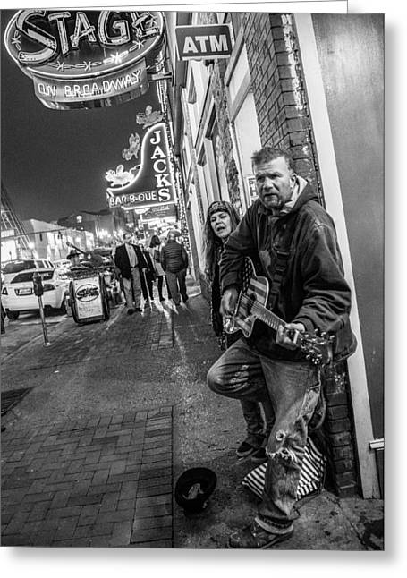 Nashville Tennessee Greeting Cards - Outside the Stage in Nashville  Greeting Card by John McGraw