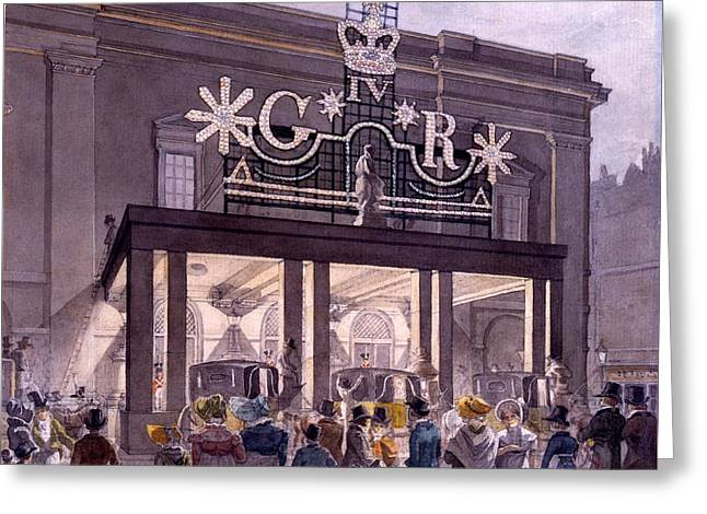 Theatres Greeting Cards - Outside The Theatre Royal, Drury Lane Greeting Card by Robert Blemell Schnebbelie